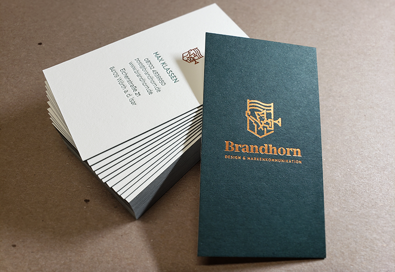 Duplex Business Cards, Letterpress, Copper Foil