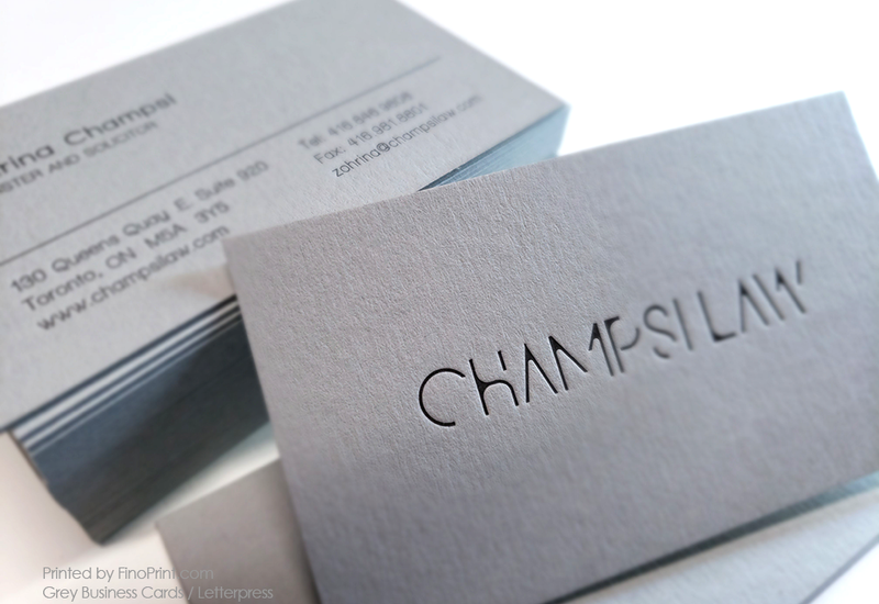 Grey Business Cards, Champsi Law, Letterpress