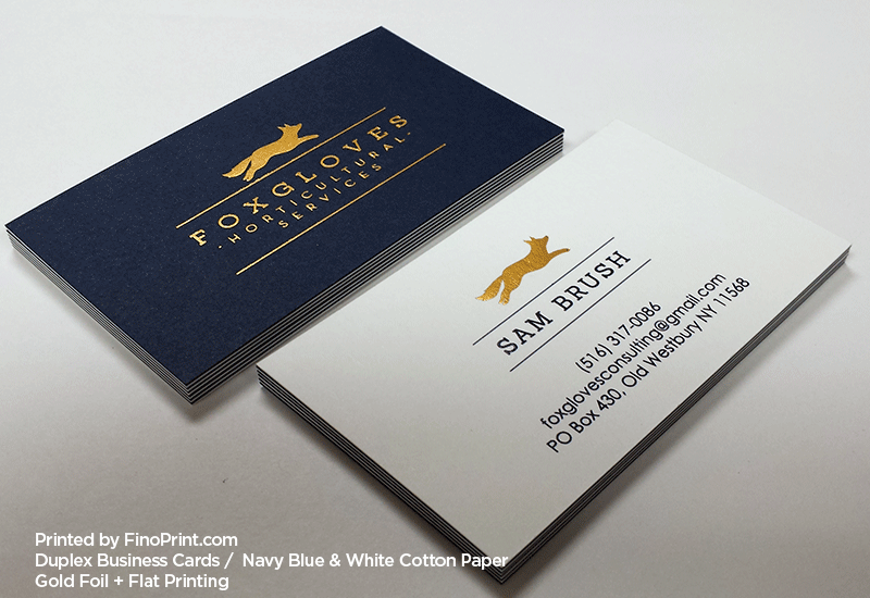 Duplex Business Cards, Black Ink Print, Gold Foil