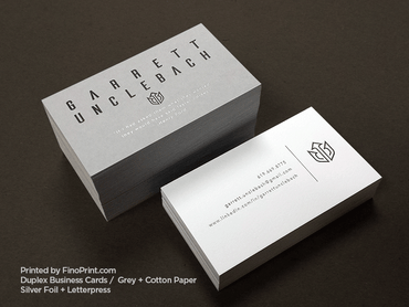 Duplex Business Cards, Letterpress, Silver Foil