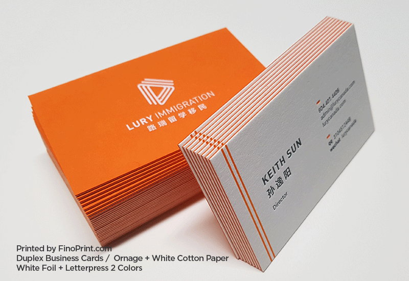 Duplex Business Cards, Letterpress, White Foil