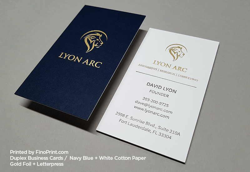 Duplex Business Cards, Letterpress, Gold Foil