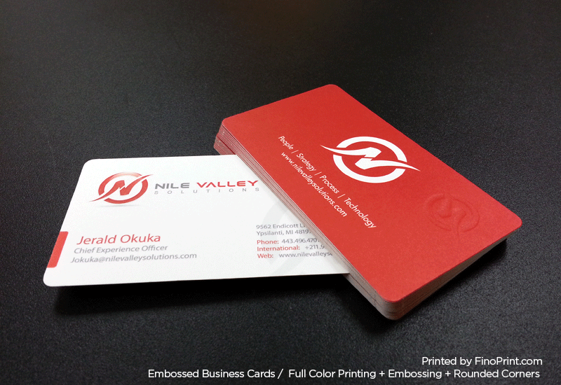 Embossed Business Cards, Full color Printing, Rounded Corners, Embossing