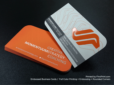 Embossed Business Cards, Full color Printing, Rounded Corners, Embossing, Spot UV