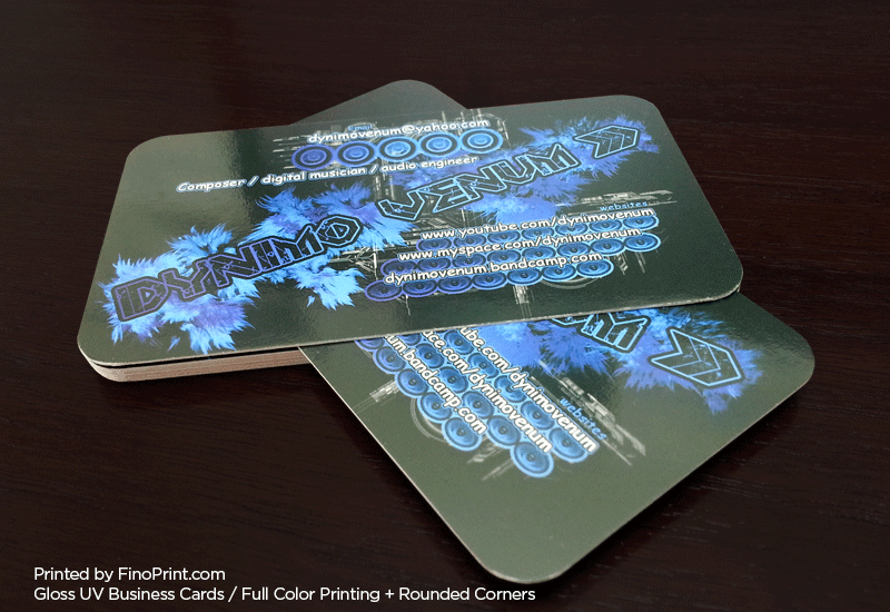 Gloss UV Business Cards, Full-color Printing, 16pt Paper, Rounded Corners