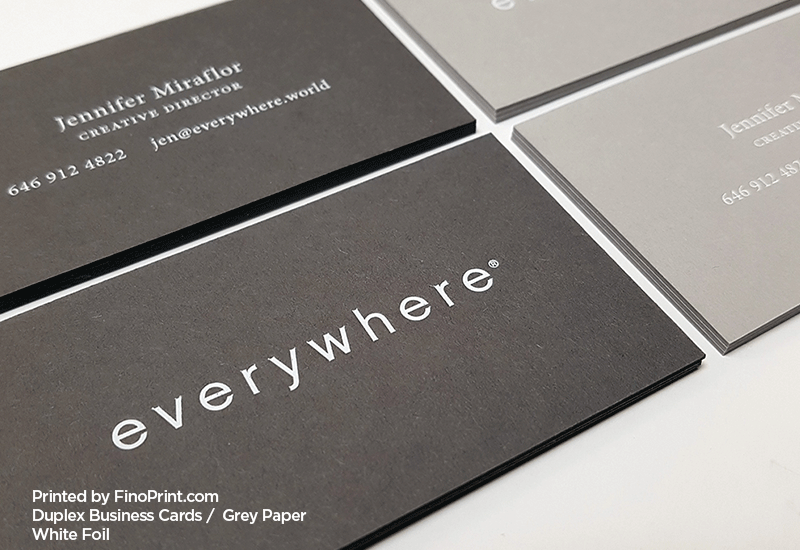Grey Business Cards, Letterpress Printing, White Foil
