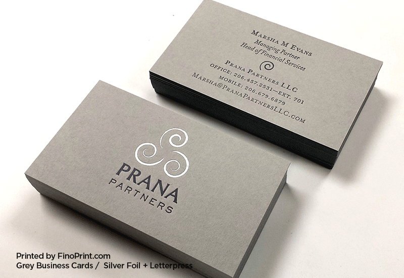 Grey Business Cards, Letterpress Printing, Silver Foil