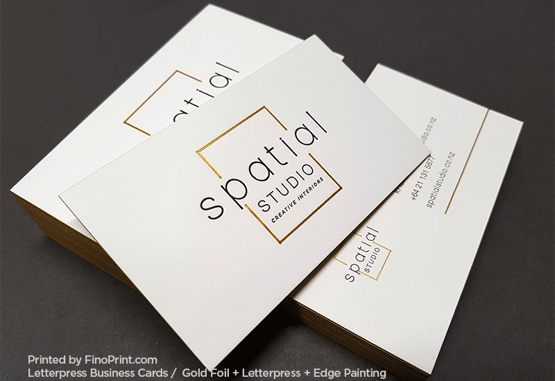 Letterpress Business Cards, Gold Foil, Edge Painting