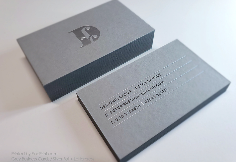 Grey Business Cards, Silver Foil, Letterpress, Peter Ramsey