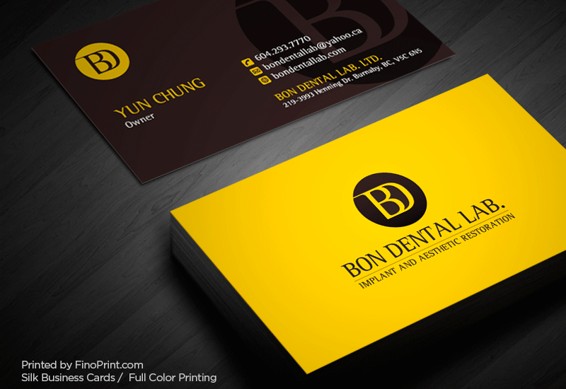 Silk Business Cards, Full color Printing, 16pt Silk Paper