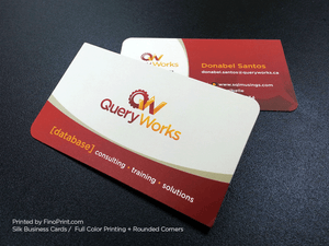 Silk Business Cards, Full color Printing, 16pt Silk Paper, Rounded Corners