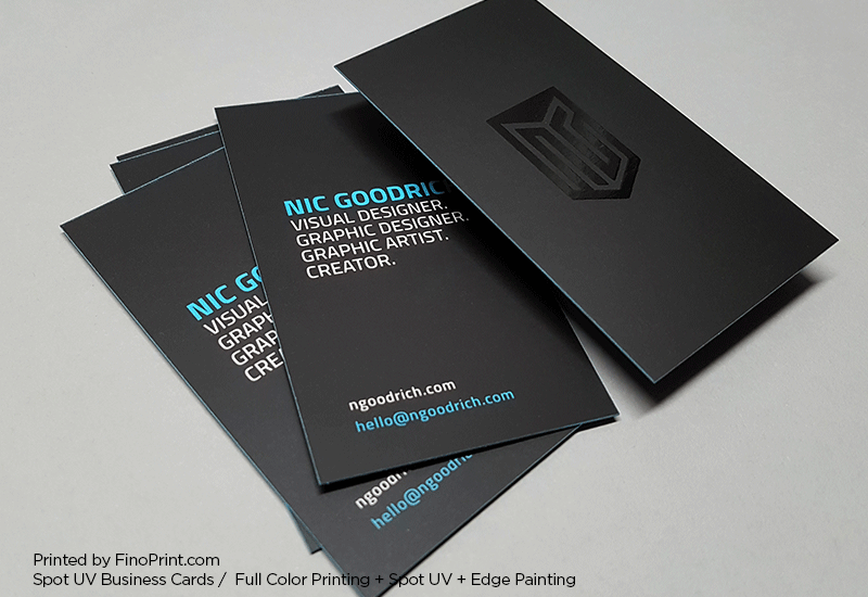 Spot UV Business Cards, Full Color Printing, Edge Painting