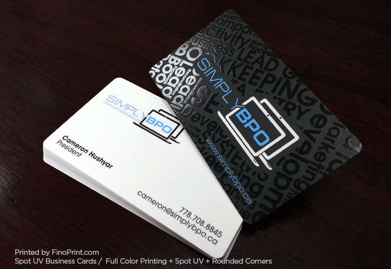 Spot UV Business Cards, Full Color Printing, Rounded Corners