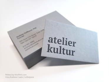 Grey Business Cards, Letterpress Printing, atelier kultur