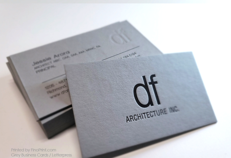Grey Business Cards, df architecture inc, Letterpress