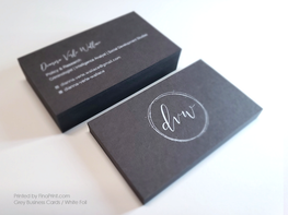 Grey Business Cards, White Foil