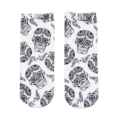3D Skull Ankle Socks
