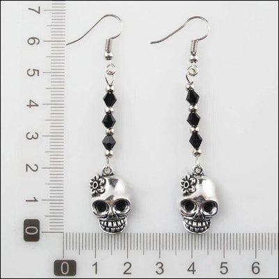 Black Beads Flower Skull Earrings