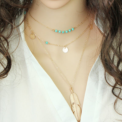 Gold Color Star Moon Multi-layer Necklace