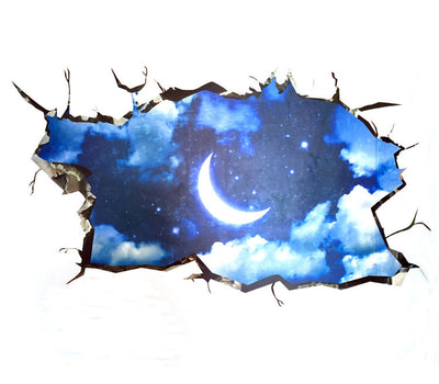 3D Moon in Outer Space Wall Sticker