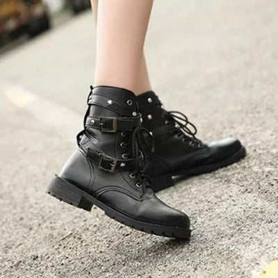 Punk Belts Round Lace up Boots