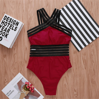 Neck Bandage Cross Swimsuit