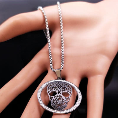 Skull Crystal Silver Necklace