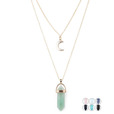 Natural Crystal Opal Stone Big Moon Choker Necklace Set