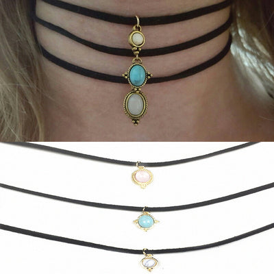 3pcs Round Opal Stone Choker Necklace Set