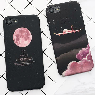 Pink Moon Black iPhone Case