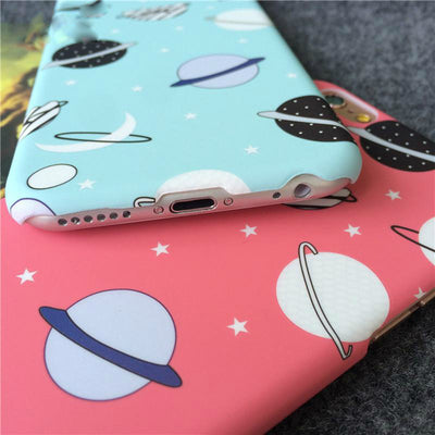Pink Sky Blue Cartoon Universe iPhone Cases