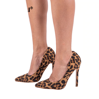 Leopard Pointed Toe Flock High Heels