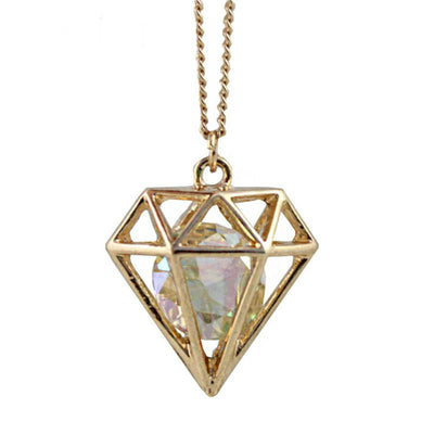Diamond Crystal Pendant Vintage Necklace
