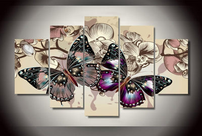 5 Pieces Butterfly Wall Art Canvas