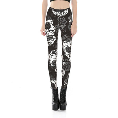 Gothic Rose Skull Leggings