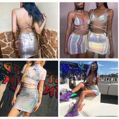 Holographic Tube Top and Mini Skirt Set