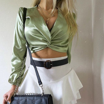 Elegant Satin Twisted Crop Top