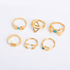 6pcs Vintage Moon Arrow Ring Set