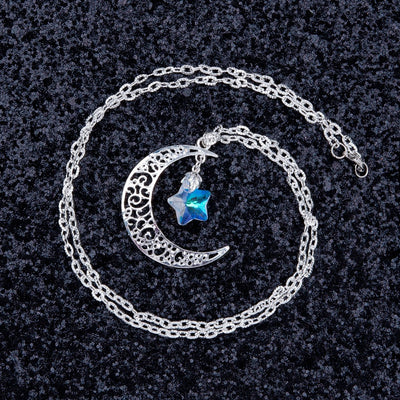 Hollow Moon Glass Star Sliver Necklace