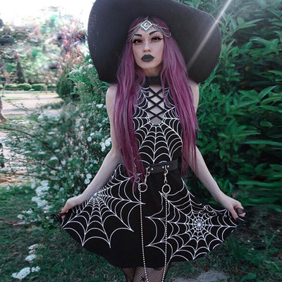 Punk Gothic Spider Web Dress