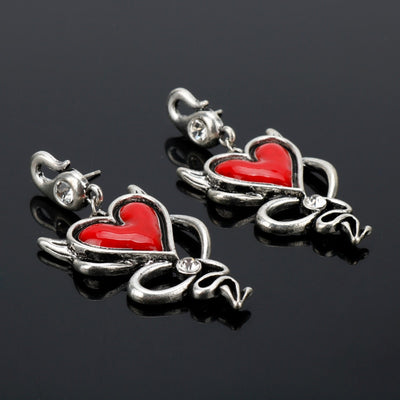 Gothic Enamel Red Heart Stud Earrings