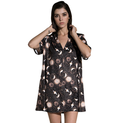 Moon Sun Star Short Sleeves V Neck Dress