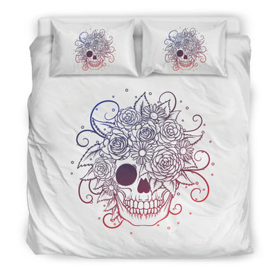 White Awesome Skull Bedding Set