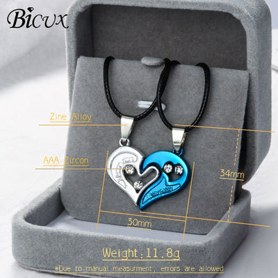 Heart Love Matching Couple Necklace
