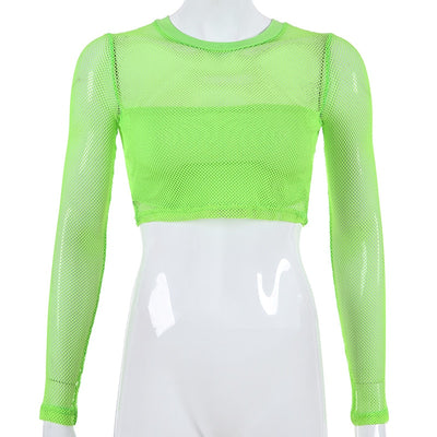 Neon Green Mesh Fishnet Club Outfit