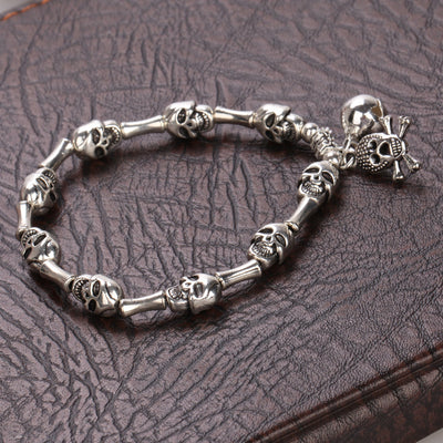 Exaggerated Silver Skull Bracelet