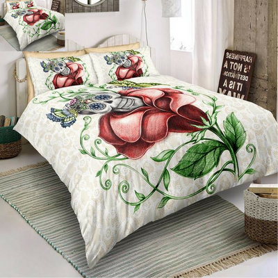 3D Rose Skull Bedding Set