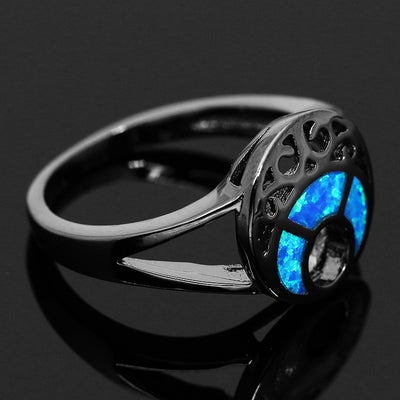 Black Plated Blue Moon Opal Ring