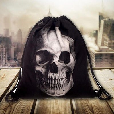 Free - Black Skull Drawstring Bag