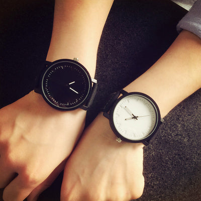 Couple Black White Leather Watch